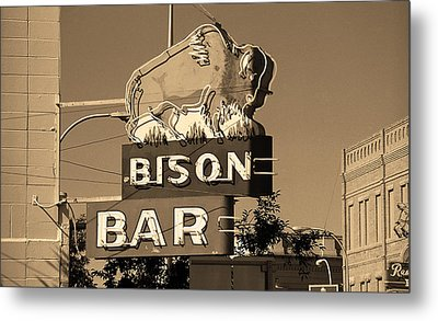 Miles City, Montana - Bison Bar Sepia Metal Print