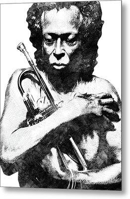 Miles Davis Bw  Metal Print by Mihaela Pater