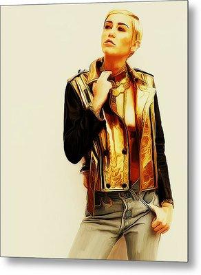 Miley Cyrus On My Own II Metal Print