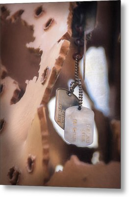 Military Dog Tags Metal Print by Lori Deiter
