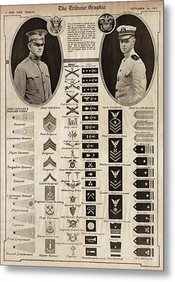 Metal Print featuring the photograph Military Rank Identification 1917 by Daniel Hagerman