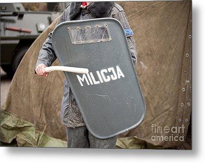 Militia Grey Shield At 32nd Anniversary Metal Print by Arletta Cwalina