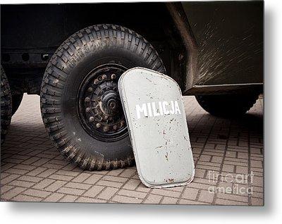 Militia Shield And Tire Of Combat Metal Print by Arletta Cwalina