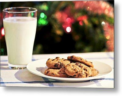 Milk And Cookies For Santa Metal Print