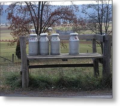 Metal Print featuring the photograph Milk Cans Waiting For Pickup by Jeanette Oberholtzer