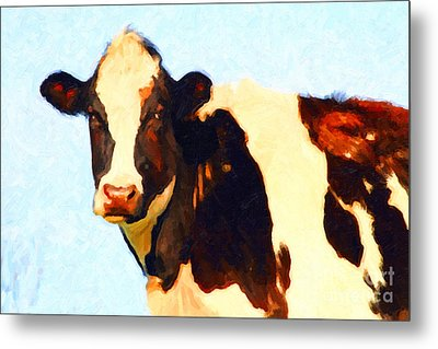Milk Cow . Photoart Metal Print by Wingsdomain Art and Photography