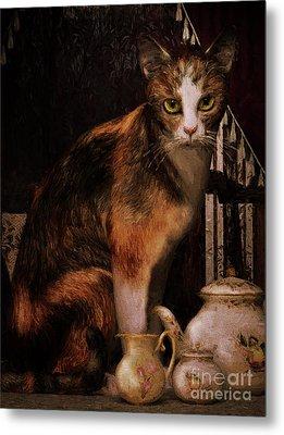 Metal Print featuring the digital art Milk No Sugar Calico Cat by Shanina Conway