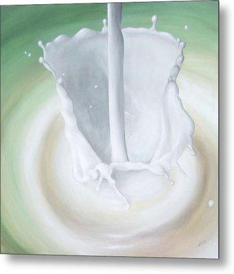 Milk Pour Metal Print by Michelle Iglesias