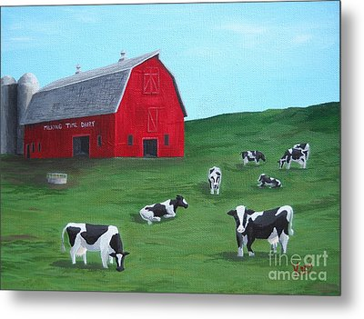 Milking Time Dairy Metal Print