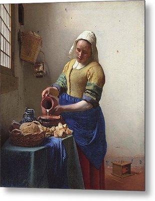 Milkmaid Metal Print by Jan Vermeer Van Delft