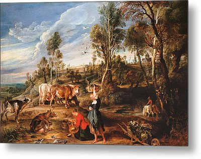 Milkmaids With Cattle In A Landscape Metal Print