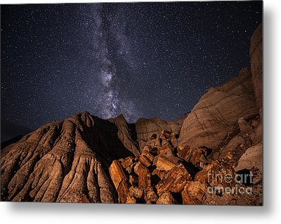 Milky Way And Petrified Logs Metal Print by Melany Sarafis