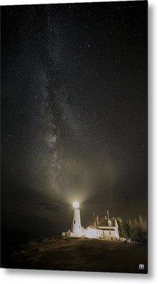Milky Way At Pemaquid Light Metal Print