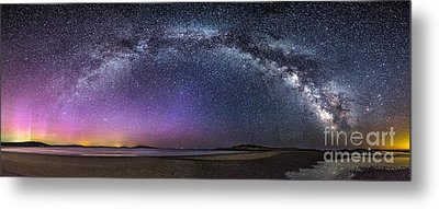 Milky Way Panorama With Northern Lights At Popham Beach Metal Print