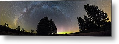 Metal Print featuring the photograph Milkyway And Northernlights Pano by Aaron J Groen