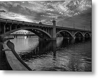 Metal Print featuring the photograph Mill Avenue Bridge At Sunset Black And White by Dave Dilli