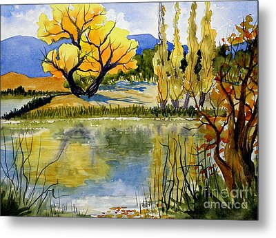Mill Pond Autumn Metal Print