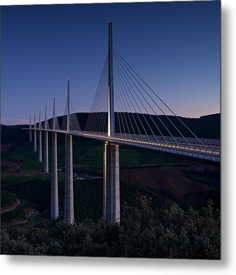 Millau Viaduct At Dusk Metal Print