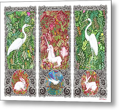 Millefleurs Triptych With Unicorn, Cranes, Rabbits And Dove Metal Print by Lise Winne