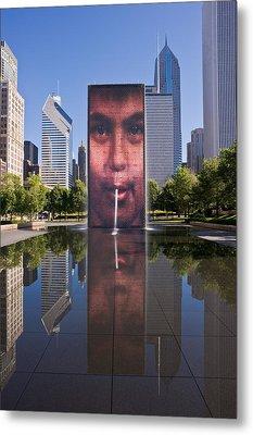 Millennium Park Fountain And Chicago Skyline Metal Print by Steve Gadomski
