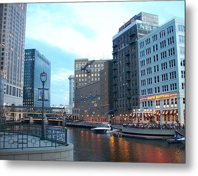 Milwaukee River Walk Metal Print by Anita Burgermeister