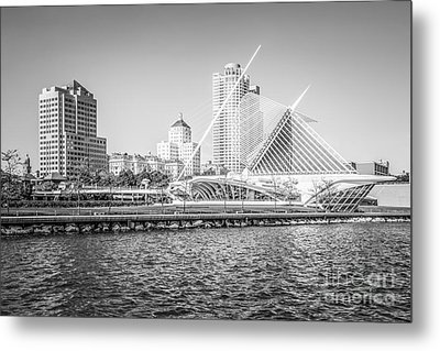 Milwaukee Skyline Photo In Black And White Metal Print by Paul Velgos