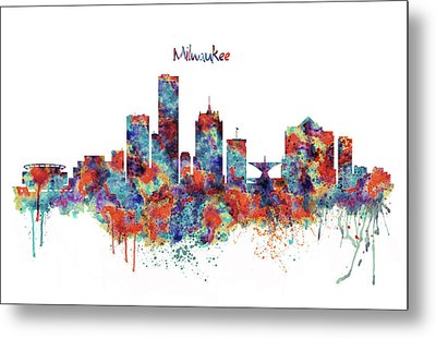 Metal Print featuring the mixed media Milwaukee Watercolor Skyline by Marian Voicu