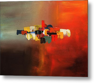 Metal Print featuring the painting Mindful - Abstract Art by Carmen Guedez
