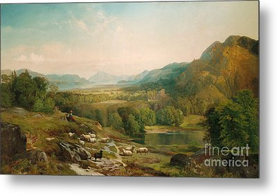 Minding The Flock Metal Print by Thomas Moran