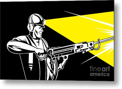 Miner With Jack Leg Drill Metal Print by Aloysius Patrimonio