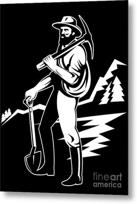 Miner With Pick Axe And Shovel  Metal Print by Aloysius Patrimonio