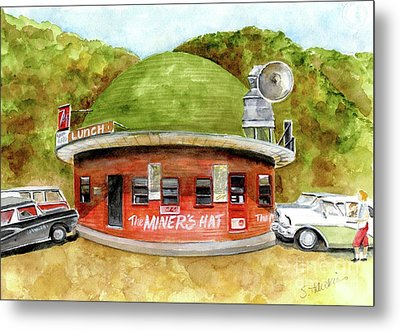 Miner's Hat Drive In Metal Print by Sheryl Heatherly Hawkins