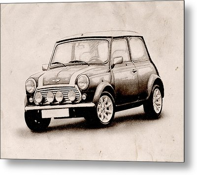 Mini Cooper Sketch Metal Print by Michael Tompsett