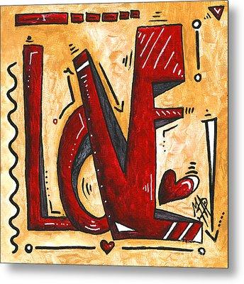 Mini Pop Art Gold Red Love Original Painting By Madart Metal Print by Megan Duncanson