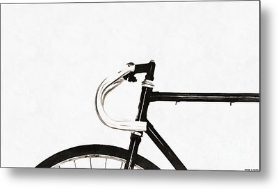Minimalist Bicycle Painting Metal Print by Edward Fielding