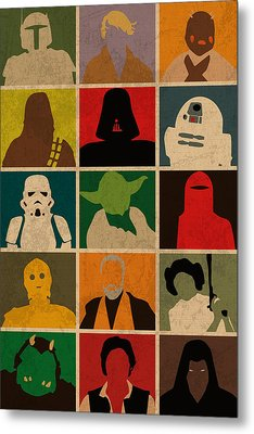 Minimalist Star Wars Character Colorful Pop Art Silhouettes Metal Print by Design Turnpike