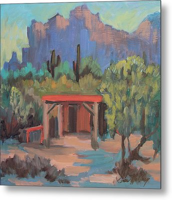 Metal Print featuring the painting Mining Camp At Superstition Mountain Museum by Diane McClary