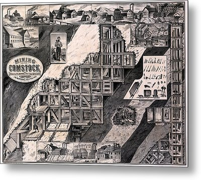 Mining On The Comstock, Cutaway Metal Print by Everett