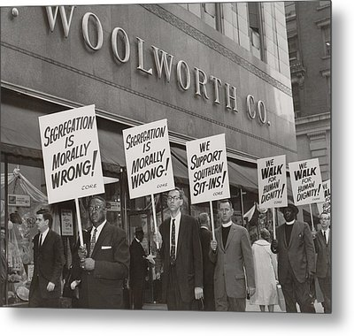 Ministers Picket F.w. Woolworth Store Metal Print by Everett