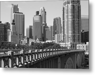 Minneapolis Black And White Metal Print by Heidi Hermes