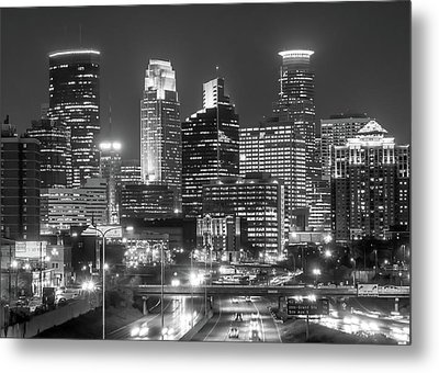 Metal Print featuring the photograph Minneapolis City Skyline At Night by Jim Hughes