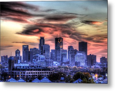 Metal Print featuring the photograph Minneapolis Skyline Autumn Sunset by Shawn Everhart