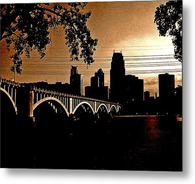 Minneapolis Skyline In Copper Metal Print by Tom Reynen
