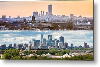 Minneapolis Skylines - Old And New Metal Print