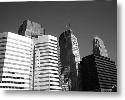 Metal Print featuring the photograph Minneapolis Skyscrapers Bw 5 by Frank Romeo