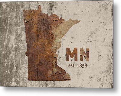 Minnesota State Map Industrial Rusted Metal On Cement Wall With Founding Date Series 036 Metal Print by Design Turnpike