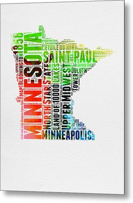 Minnesota Watercolor Word Cloud Map  Metal Print