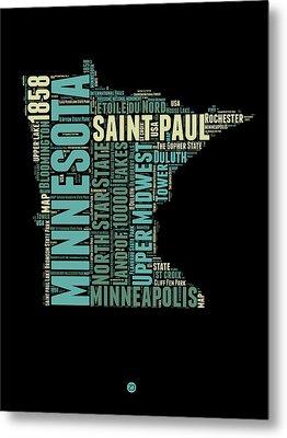 Minnesota Word Cloud Map 1 Metal Print