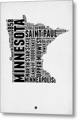 Minnesota Word Cloud Map 2 Metal Print
