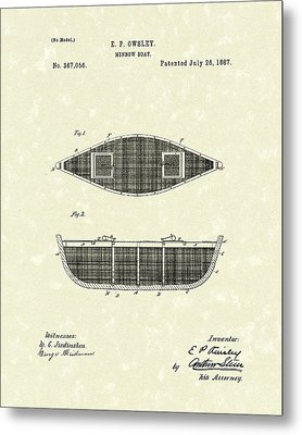 Minnow Boat 1887 Patent Art Metal Print by Prior Art Design